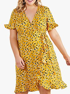Read more about Yumi curves animal print ruffle trim wrap dress yellow