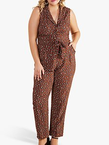 Read more about Yumi curves animal print sleeveless jumpsuit brown