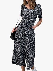 Read more about Jolie moi wide leg jumpsuit black abstract