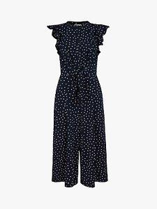 Read more about Monsoon wide leg spot print jumpsuit navy white