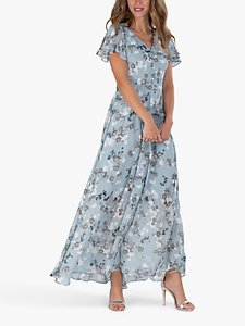 Read more about Jolie moi cross flare sleeve floral maxi dress grey