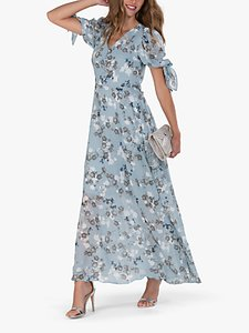 Read more about Jolie moi puff sleeve floral maxi dress blue floral