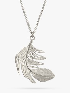 Read more about Alex monroe big single feather necklace silver
