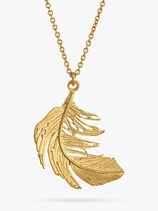 Read more about Alex monroe big single feather pendant necklace gold