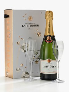 Read more about Taittinger brut nv champagne glasses gift set 75cl