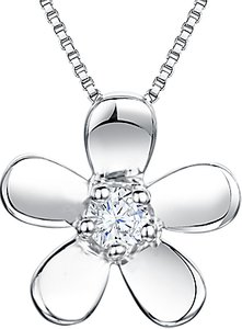 Read more about Jools by jenny brown cubic zirconia flower pendant necklace silver