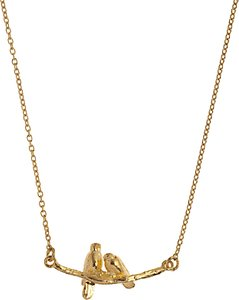 Read more about Alex monroe 22ct gold vermeil lovebirds branch pendant necklace gold