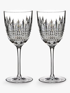 Read more about Waterford lismore diamond cut lead crystal goblet set of 2