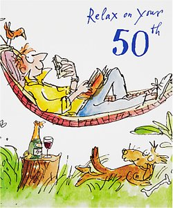 Read more about Woodmansterne man lying in hammock 50th birthday card