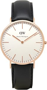 Read more about Daniel wellington 0107dw men s sheffield rose gold plated leather strap watch black white
