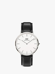 Read more about Daniel wellington 0206dw men s classic sheffield stainless steel leather strap watch black white