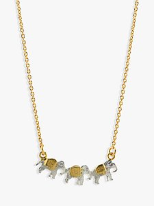 Read more about Alex monroe 22ct gold vermeil elephant trio necklace gold