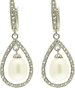 Read more about Lido pearls large oval pearl drop cubic zirconia bar setting earrings white