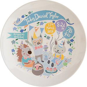 Read more about Ethel and co personalised woodland picnic decorative plate blue
