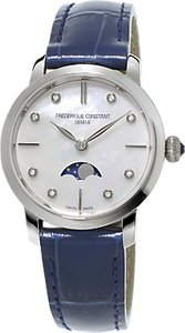 Read more about Fr d rique constant fc-206mpwd1s6 women s moonphase diamond leather strap watch blue mother of pearl