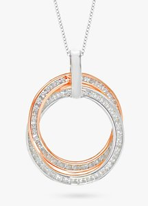 Read more about Ibb 9ct gold cubic zirconia double ring pendant necklace white gold rose gold