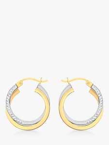1a4ad12e5c9 Read more about Ibb 9ct gold two tone diamond-cut crossover creole earrings  white gold