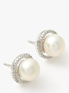 Read more about Lido pearls large pearl cubic zirconia twist stud earrings white