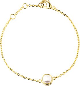 Read more about A b davis gold plated round edge pearl bracelet gold