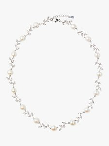 Read more about Lido pearls leaf pearl necklace silver white