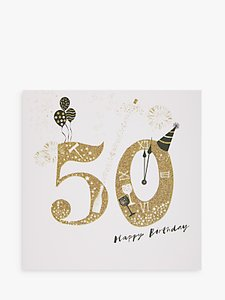 Read more about Woodmansterne party hat champagne 50th birthday card