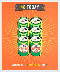 Read more about Woodmansterne where s the six pack gone 40th birthday card