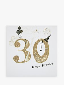 Read More About Woodmansterne Party Hat Champagne 30th Birthday Card