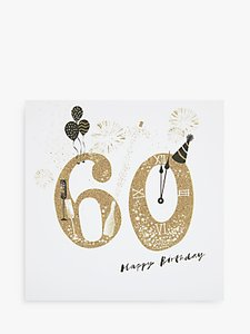 Read More About Woodmansterne Party Hat Champagne 60th Birthday Card