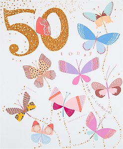 Read more about Woodmansterne celebration butterflies 50th birthday card