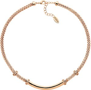 Read more about Finesse mesh glass crystal collar necklace rose gold