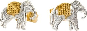 Read more about Alex monroe 22ct gold plated sterling silver elephant stud earrings silver gold