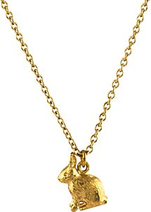 Read more about Alex monroe 22ct gold plated sterling silver sitting bunny pendant necklace gold