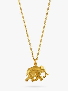 Read more about Alex monroe 22ct gold plated sterling silver elephant pendant necklace gold