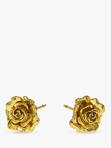 Read more about Alex monroe rosa damascena flower stud earrings gold