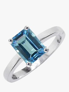 Read more about Ewa 9ct white gold baguette ring blue topaz