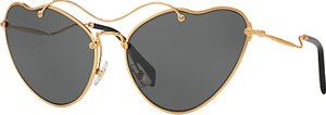 Read more about Miu miu mu 55rs asymmetric cat s eye sunglasses gold grey