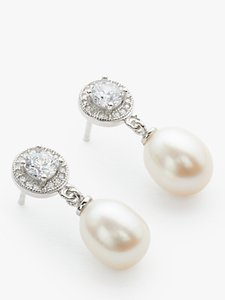 Read more about Lido pearls circle cubic zirconia freshwater pearl drop earrings white