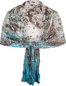 Read more about Chesca painted ombre crush pleat shawl ivory turquoise