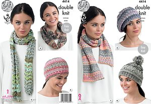 Read more about King cole drifter dk hat scarf and snood knitting pattern 4414