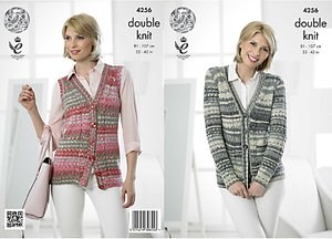 Read more about King cole drifter dk women s cardigan and waistcoat knitting pattern 4256