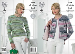 Read more about King cole drifter dk women s jumper and cardigan knitting pattern 4254