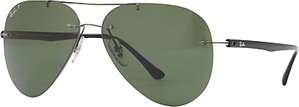 Read more about Ray-ban rb8058 polarised frameless aviator sunglasses gunmetal dark green
