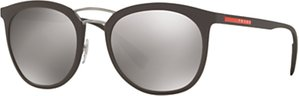 Read more about Prada linea rossa ps 04ss polarised oval sunglasses matte brown mirror grey
