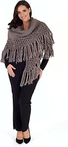 Read more about Chesca wool blend large fringed shawl with crocheted panel