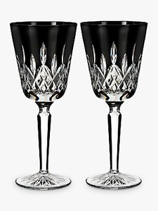 Read more about Waterford black tall cut crystal glass goblet set of 2