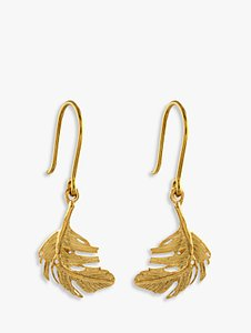 Read more about Alex monroe little feather hook drop earrings gold