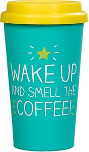 Read more about Happy jackson wake up and smell the coffee thermal mug green