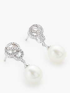 Read more about Lido pearls freshwater pearl knot swirl drop earrings silver white