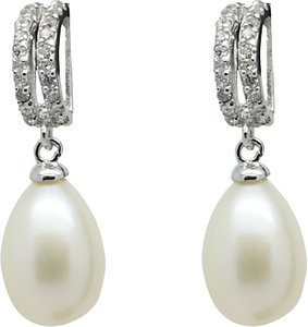 Read more about Lido pearls double row cubic zirconia freshwater pearl drop earrings silver white