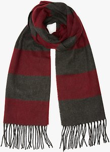 Read more about John lewis cashmink rugby stripe scarf burgundy multi